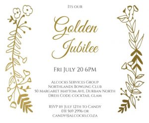 Alcocks Services Group Golden Jubilee invite